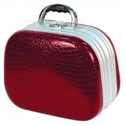 Kosmetický kufřík, ovál imitace kůže rudá