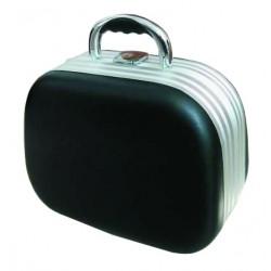 Kosmetický kufřík, ovál imitace kůže černý